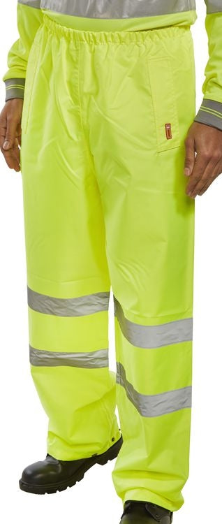 BSeen Heavyweight YELLOW PVC Coated Hi-Visibility Trousers with Side Pockets TANSY {All Sizes}