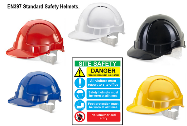 Basic Site Safety Helmets Vented and Conforms to EN397 Standards {All Colours}