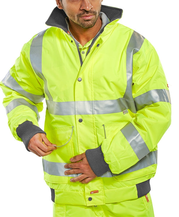 B-Dri Hi-Visibility Super Bomber Jacket BD75SY {All Sizes}