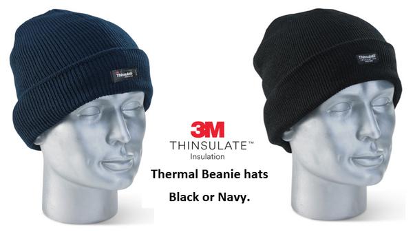 3M Thinsulate Branded Beenie Hat One Size {Navy Blue or Black}