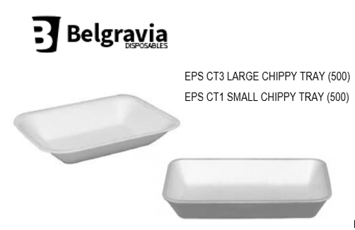 Belgravia Polystyrene Chip Shop/Takeaway Foam Food White  C3 {500}