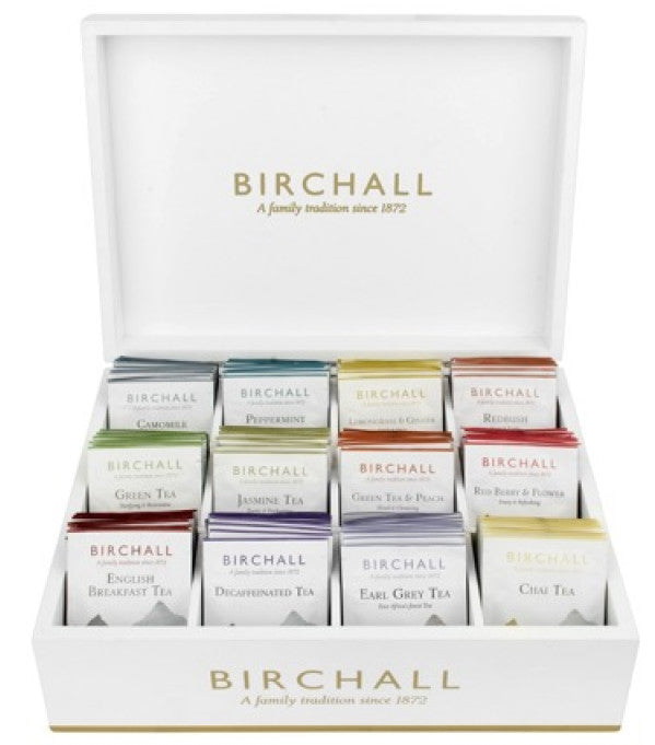 Birchall 12 Compartment White Display Box With 120 Tea