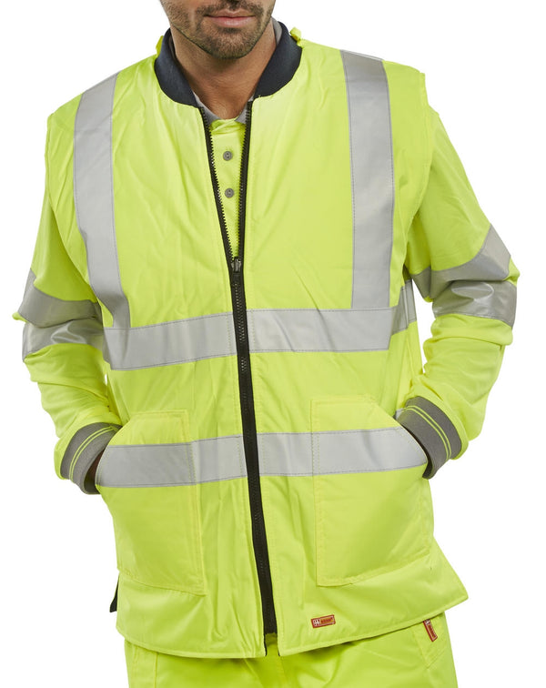 Hi Visibility Body Warmer Reversible in YELLOW {All Sizes}