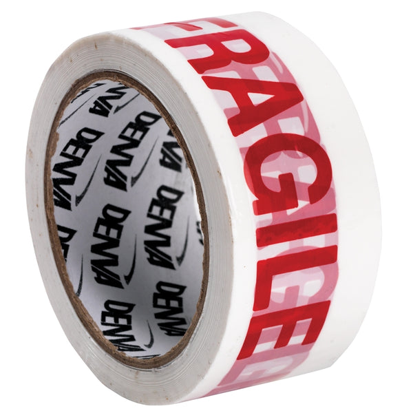 Premium Fragile White & Red Packaging Tape Rolls 50mmx66m