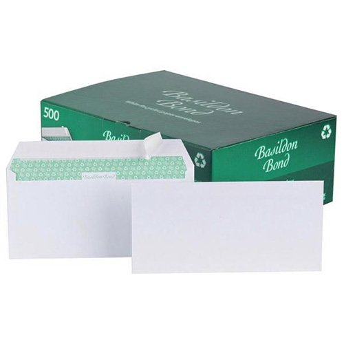 Basildon Bond Envelopes Wallet Peel and Seal 100gsm White DL Pack 500 Code C80116