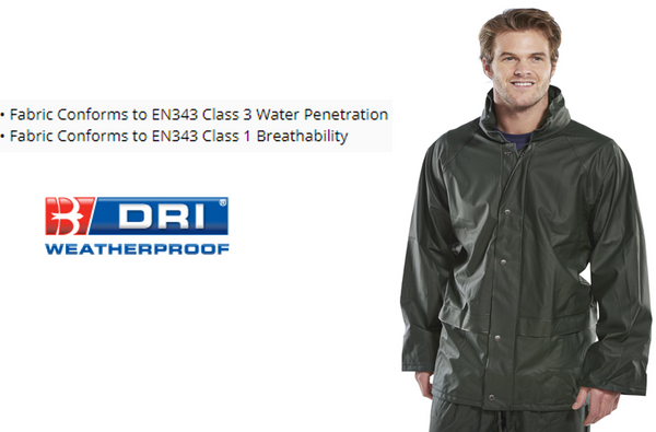 Olive Green B-Dri Super Weatherproof Jacket {with Concealed Hood} Class 3 Water Penetration {All Sizes}