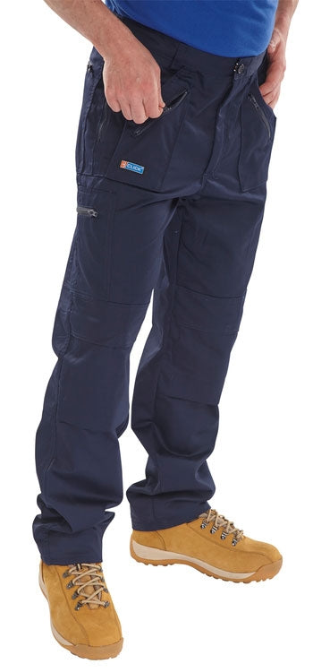 B-Click Workwear Navy 34 Action Work Trousers {All Sizes}