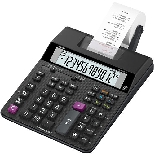 Casio HR-200RCE Printing Desktop Calculator Euro Conversion Tax Calculation Battery Power 12 Digit LC Display 2.0 Lines/sec (Black)