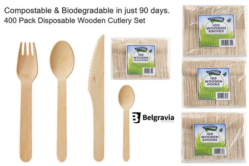 Belgravia- 400 Pack Disposable Wooden Cutlery Set - 100 Dessert Spoons, 100 Forks, 100 Knives, 100 Teaspoons