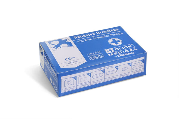 Click Medical Plasters Blue Metal Detectable 100 Assorted