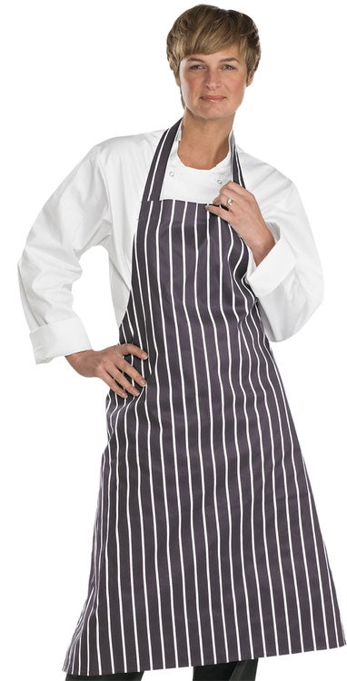 Chefs Butchers Apron Black/White Striped.