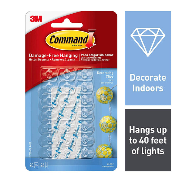 3M Command Outdoor Clear Plastic External decorating clips, Pack of 20
