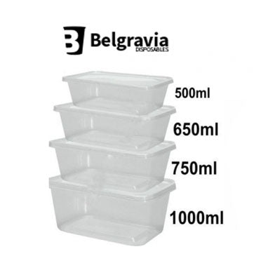 Belgravia Microwave Containers & Lids Size: 650cc  {50 Units}