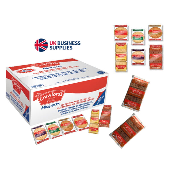 Crawfords Mini Packs Assorted Biscuits 100 Packs of 3 Biscuits