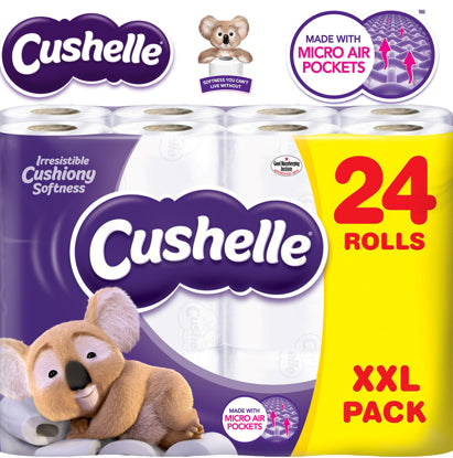 Cushelle Luxury Soft 2 Ply White Toilet Roll Tissue Paper 24 Pack