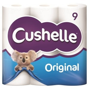 Cushelle 2ply Original Toilet Tissue 9 Roll White