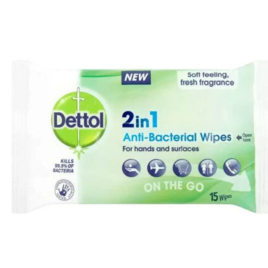 Dettol 2in1 Antibacterial Wipes 15's