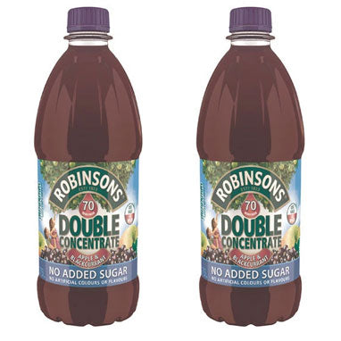Robinsons NAS Double Concentrate Apple and Blackcurrant 1.75L (Pack of 2)