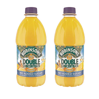 Robinsons Double Concentrate Orange Squash No Added Sugar 1.75 Litre (Pack of 2)