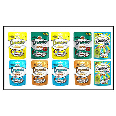 Dreamies Mega Deal 10 x 60g Delicious Crunchy Cat Treats Variety All Flavours