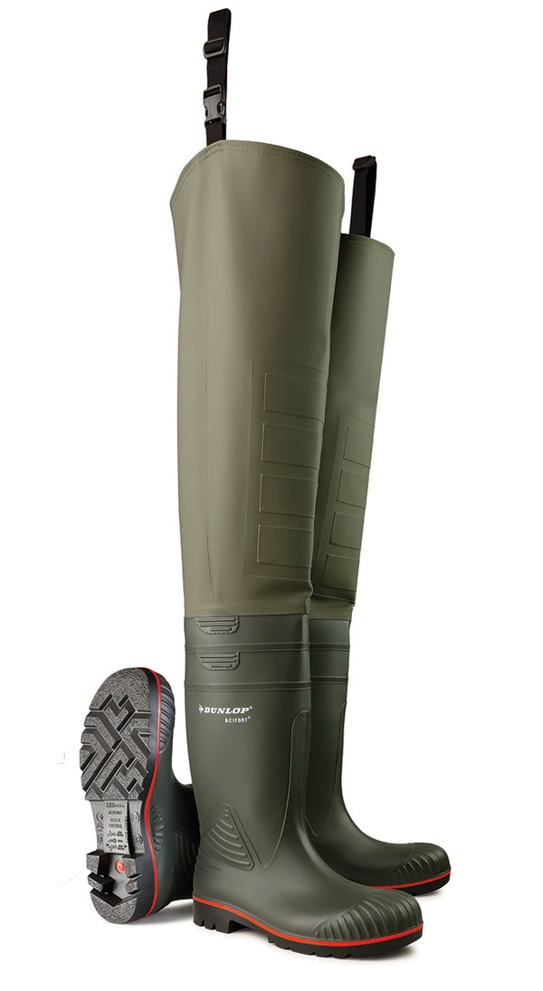 Dunlop Acifort Thigh Wader Full Safety Heavy Duty Green {All Sizes}