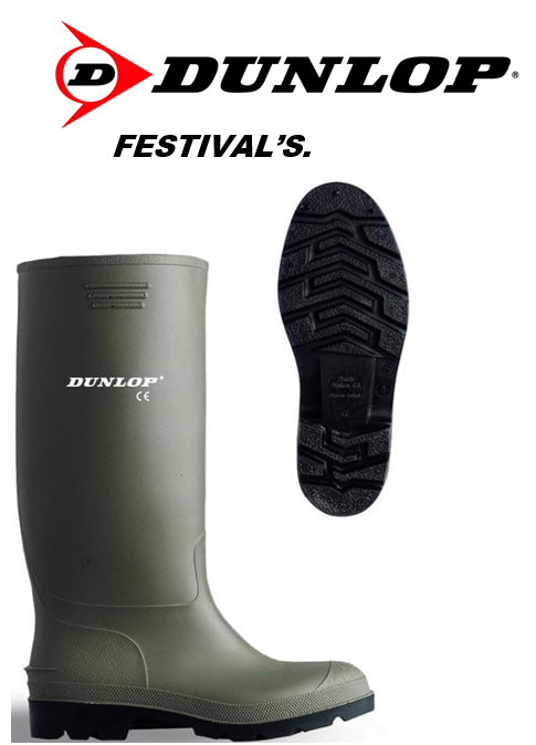 Dunlop FESTIVALS Standard Wellies in GREEN 100% Waterproof {Pricemastor Range} {All Sizes}