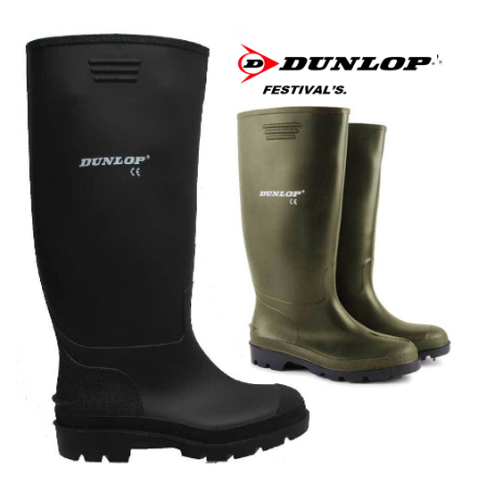 Dunlop FESTIVALS Standard Wellies in Black 100% Waterproof {Pricemastor Range} {All Sizes}