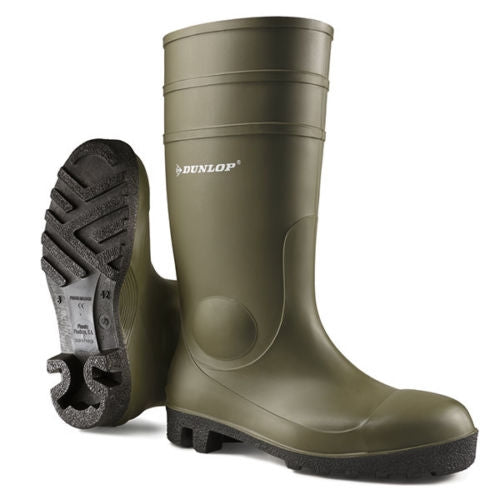 DUNLOP Protomaster Work Wellies Green Steel Toe-Cap {All Sizes}