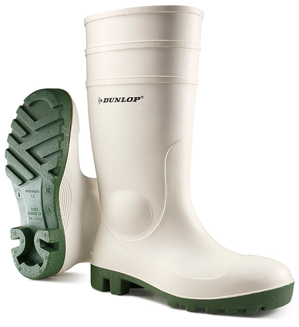DUNLOP Protomaster Work Safety Wellies White Steel Toe-Cap {All Sizes}
