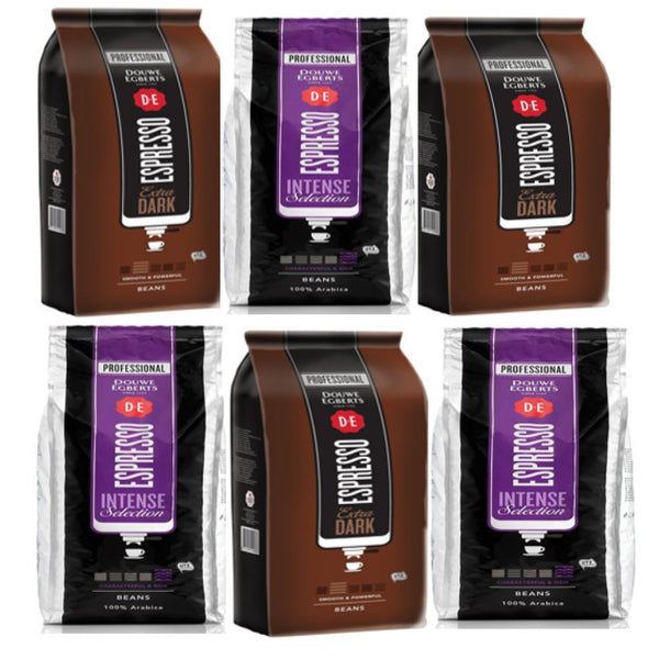 "Douwe Egbert 6 x 1kg Mixed {3 x Intense Roast,3 x Dark Roast} ""Offer Pack"""