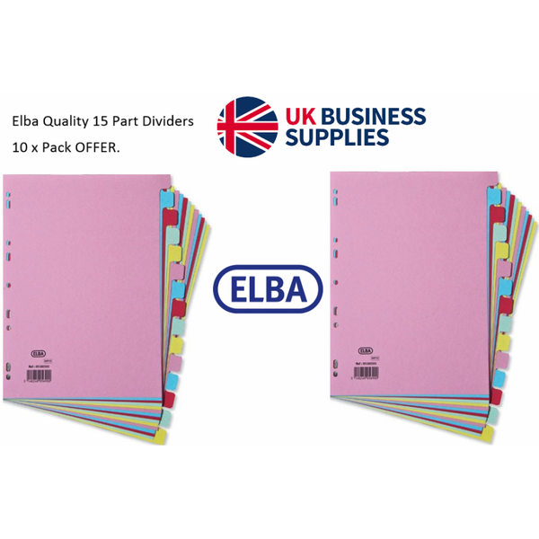 Elba Subject Dividers / 15-Part / A4 / Assorted/ Strong 160g Card/ 10 Pack Offer