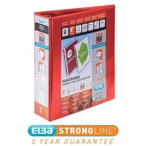 Elba Panorama (A4) Presentation Lever Arch File Binder 70mm Red (Pack of 5)