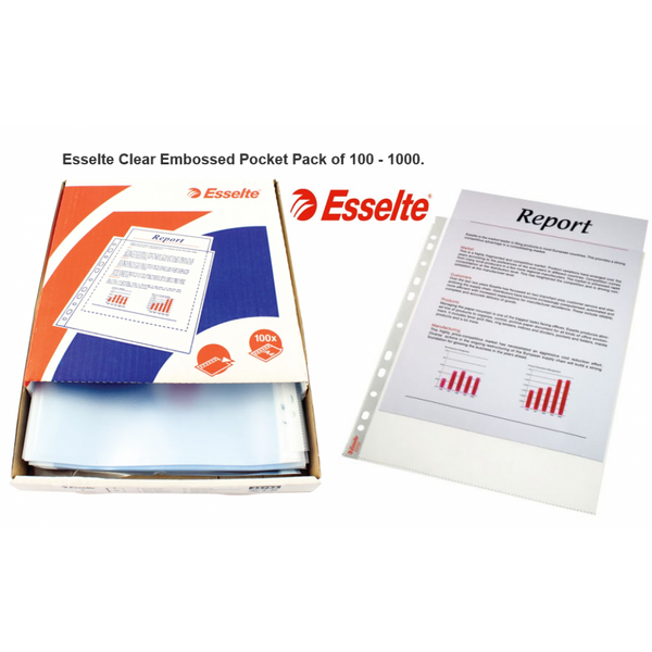 Esselte A4 Clear Embossed Pocket Pack 100's