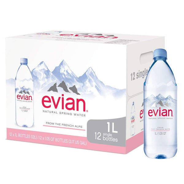 Evian 1 Litre Plastic Bottles (Pack of 12)