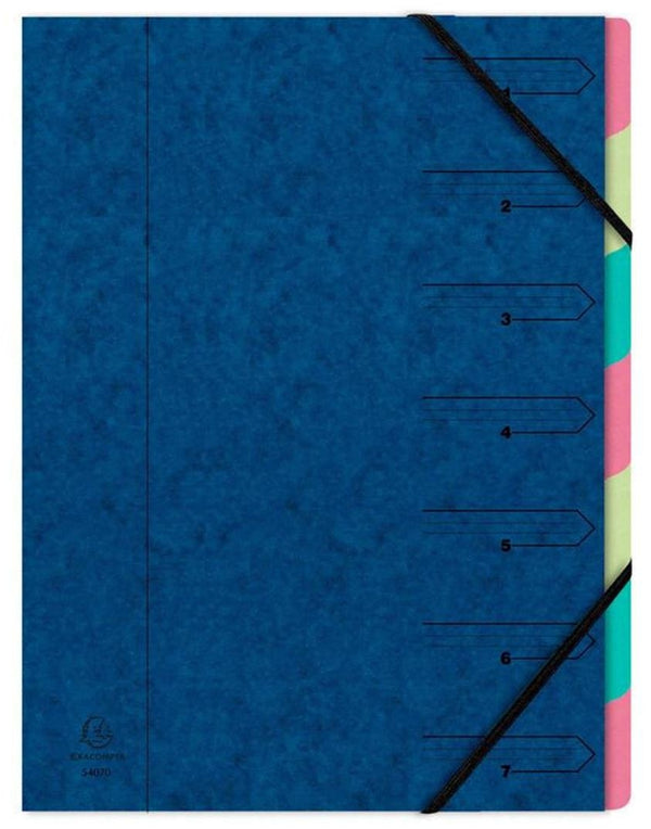 Exacompta Nature Future 54072E (A4) Organiser 7-Part Stapled Elastics Compartments Blue (Single)