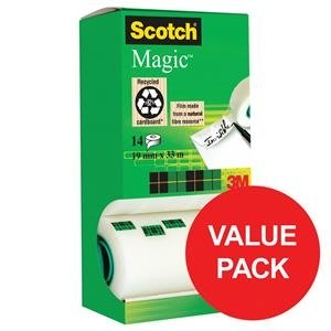 Scotch Magic Invisible Tape 19mmx33m Pack 12&2's
