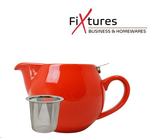 FiXtures®  Red Porcelain Stump Teapot With S/S Lid 500ml