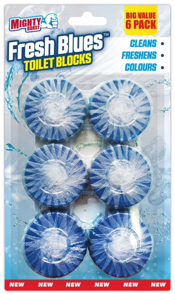 Mighty Burst Fresh Blues Toilet Blocks Pack 6's