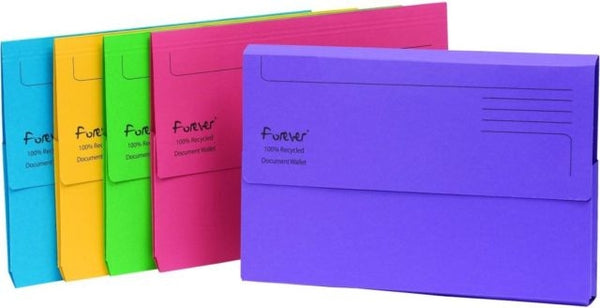 Guildhall Forever 211/5000 FOOLSCAP Document Wallet Assorted Colours (Pack of 25)