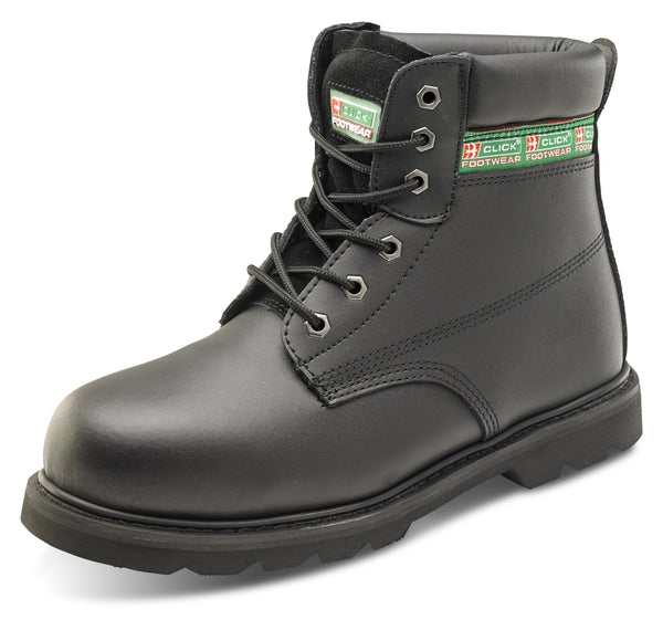 Click Footwear Black Sizes 6 - 12 Goodyear Welted Safety Boots {All Sizes}