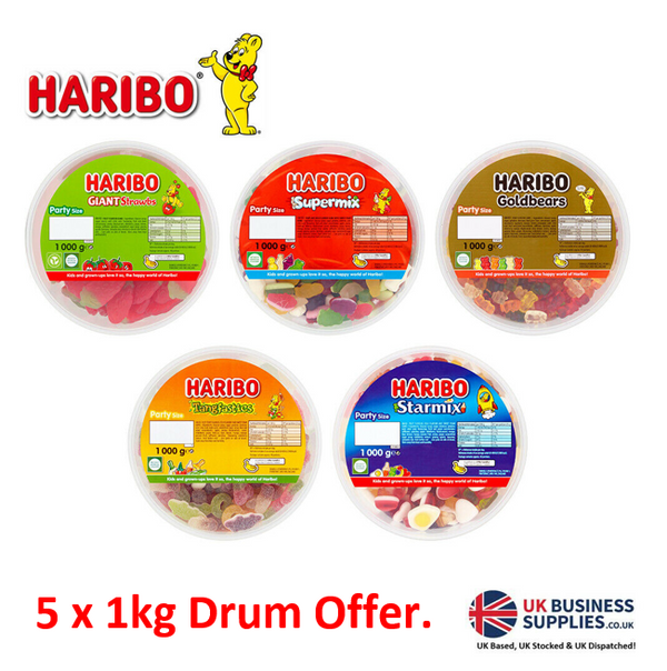 Haribo 5 x 1kg Drum MULTI PACK OFFER