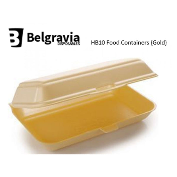 Belgravia HB10 Gold Polystyrene Food Containers {250}