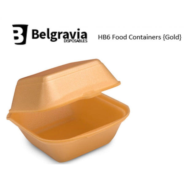 Belgravia HB6 Gold Polystyrene Food Containers {500}