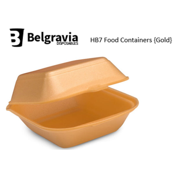 Belgravia HB7 Gold Polystyrene Food Containers {500}
