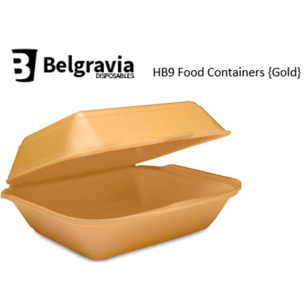 Belgravia HB9 Gold Polystyrene Food Containers {250}