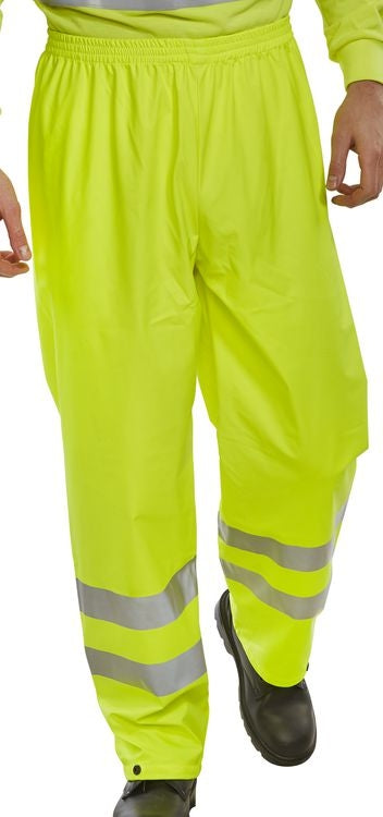 Hi Visibility Pull Over Trousers YELLOW Class. Side Pocket 80-20 polyester cotton {All Sizes}