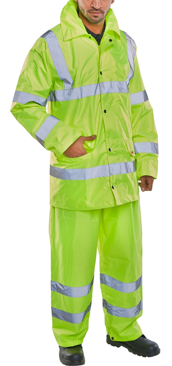 Hi- Visibility Suit Jacket & Trouser Yellow {All Sizes}