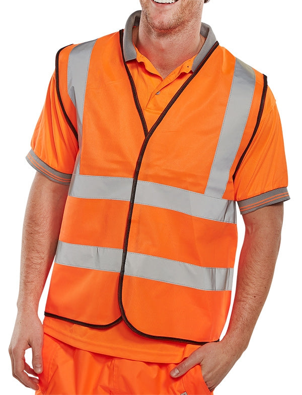 Hi Visibility Vest/Waiscoat ORANGE & Black Piping Conforms to EN ISO 20471 Standard {All Sizes}