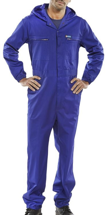 Hooded Boiler Suit Poly Cotton ROYAL BLUE {All Sizes}