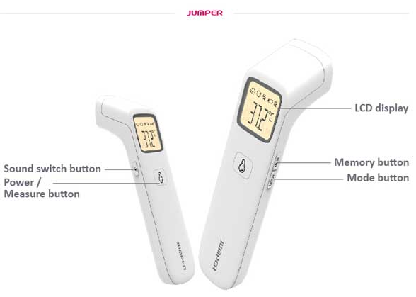 Jumper Non-Contact Forehead Infrared Thermometer